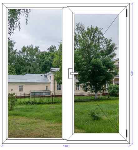 Двухстворчатое окно ВХС 72 Фряново