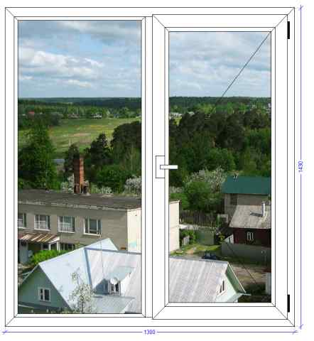 Двухстворчатое окно WHS Halo 72 Фряново