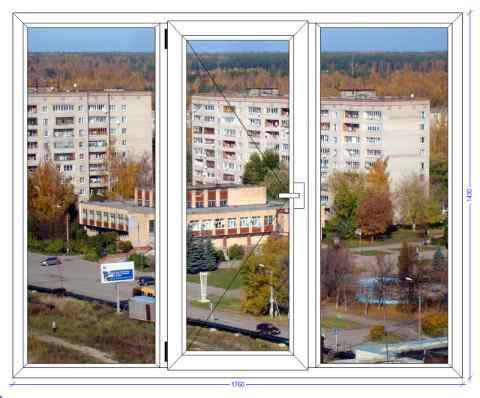 Трехстворчатое окно WHS 60 Белоозерский