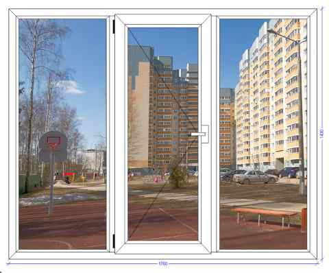 Трехстворчатое окно Veka Softline Некрасовка