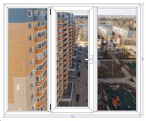 Трехстворчатое окно Века Софтлайн Некрасовка