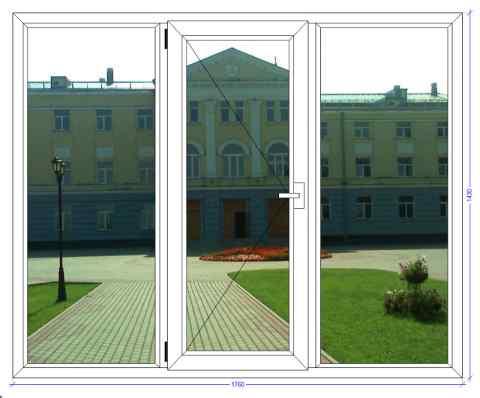 Трёхстворчатое окно ВХС 72 Обухово