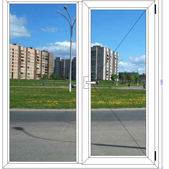 Двухстворчатое окно VEKA Euroline Черноголовка