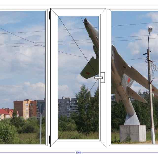 Трехстворчатое окно WHS Halo 60 Белоозерский