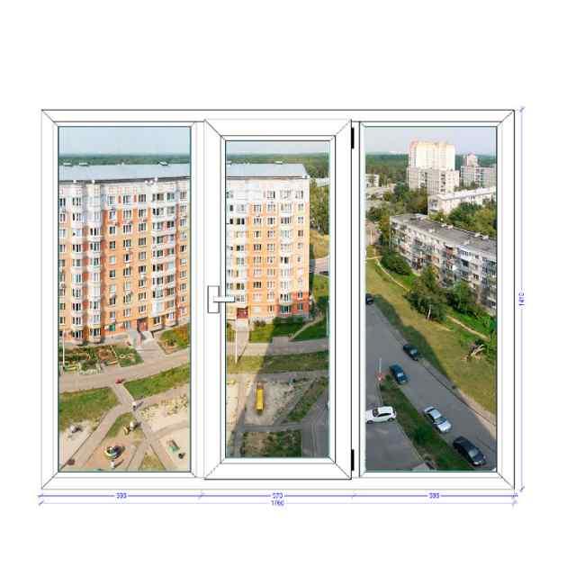 Трехстворчатое окно GRUNDER Краснознаменск